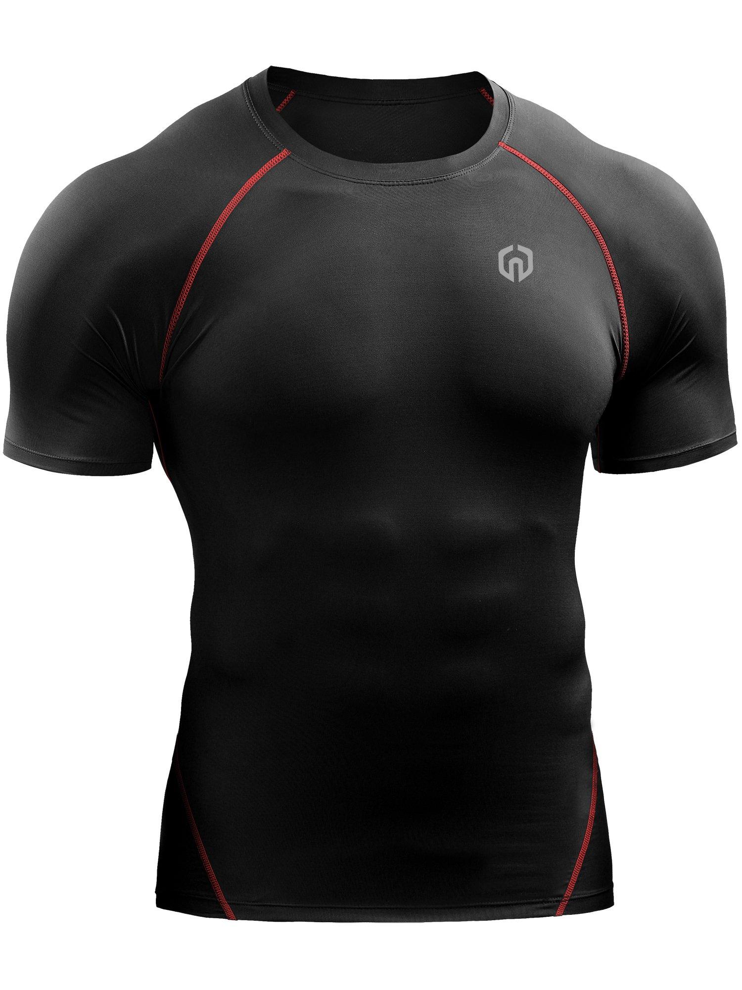 Neleus Men's Compression Baselayer Athletic Workout T Shirts,5022,One Piece,Black(red Striped),US S,EU M by Neleus (Image #4)