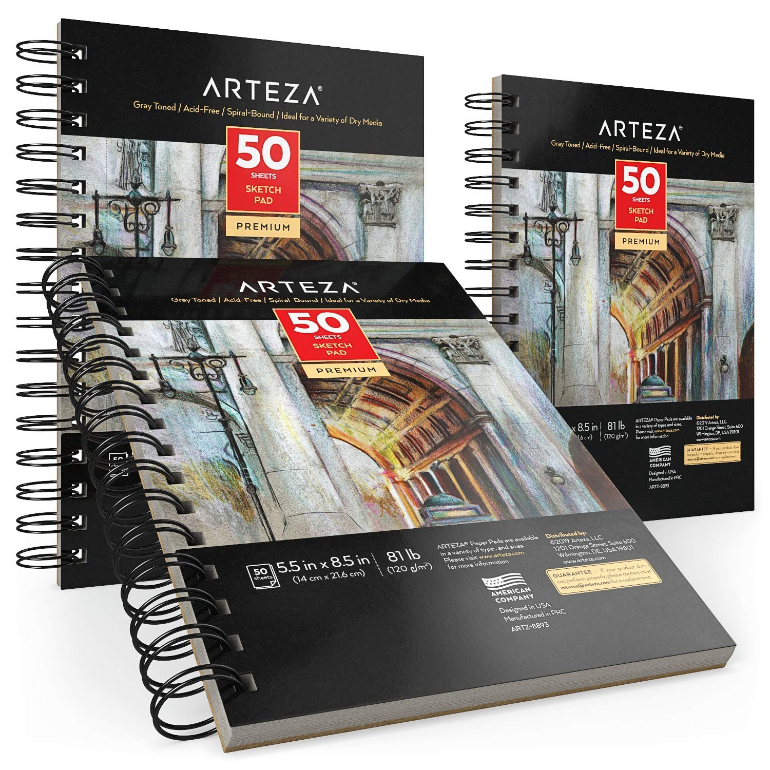 """150 Sheets 81 lb//120gsm Gray Durable Acid-Free Drawing Paper Pack of 3 ARTEZA 5.5x8.5/"""" Sketch Pad 50 Sheets Each Spiral Bound Artist Sketchbook Ideal for Kids /& Adults"""