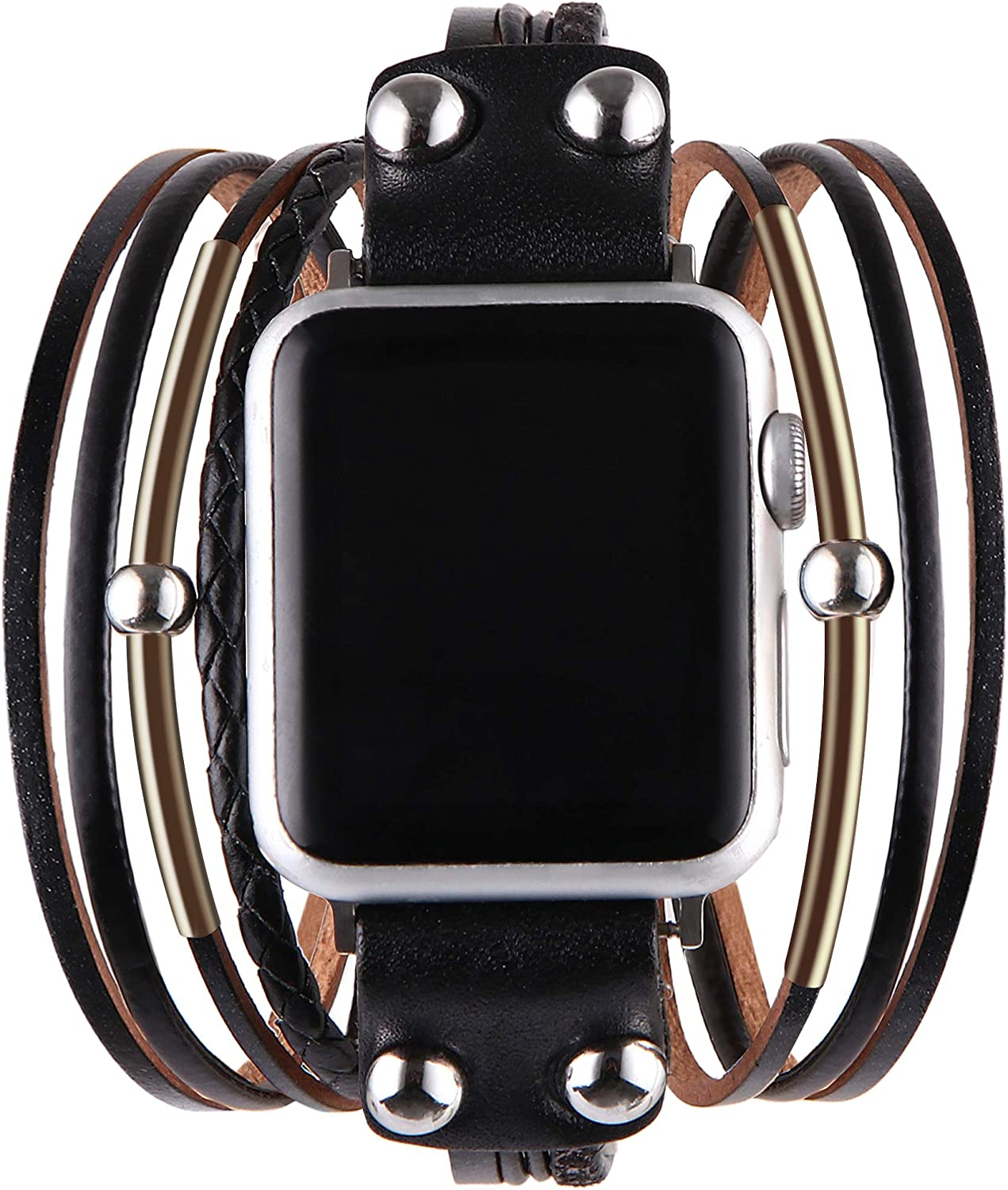 Vikoros Multi-Layer Leather Wrap Bracelet Compatible with Apple Watch SE Series 6 5 4 3 38mm 40mm 42mm 44mm for Women Mens, Boho Stylish Cuff Bangle Watch Strap for Iwatch Bands