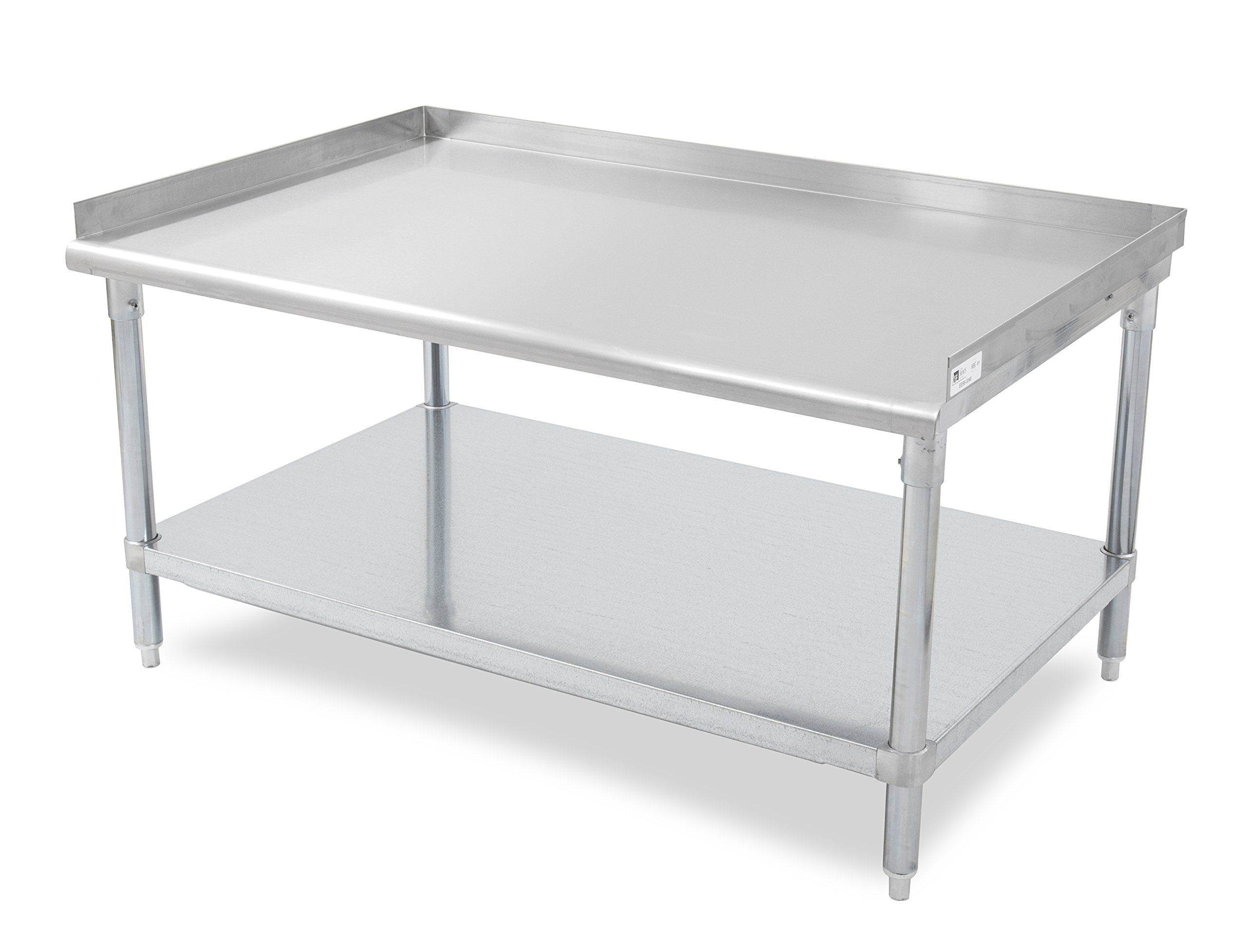 John Boos E Series Stainless Steel 430 Equipment Stand with 1.5 inch Rear and Side Risers, Adjustable Galvanized Undershelf, 15'' Length x 30'' Width