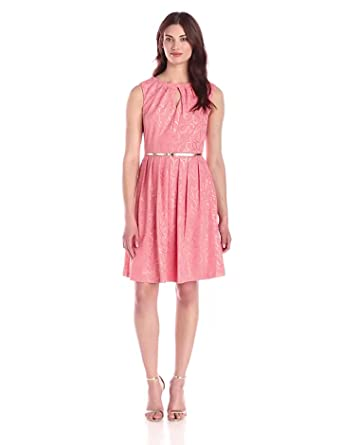 717e3e862f44 Ellen Tracy Women's Cap Sleeve Cutout Belted Fit and Flare Dress, Coral, ...