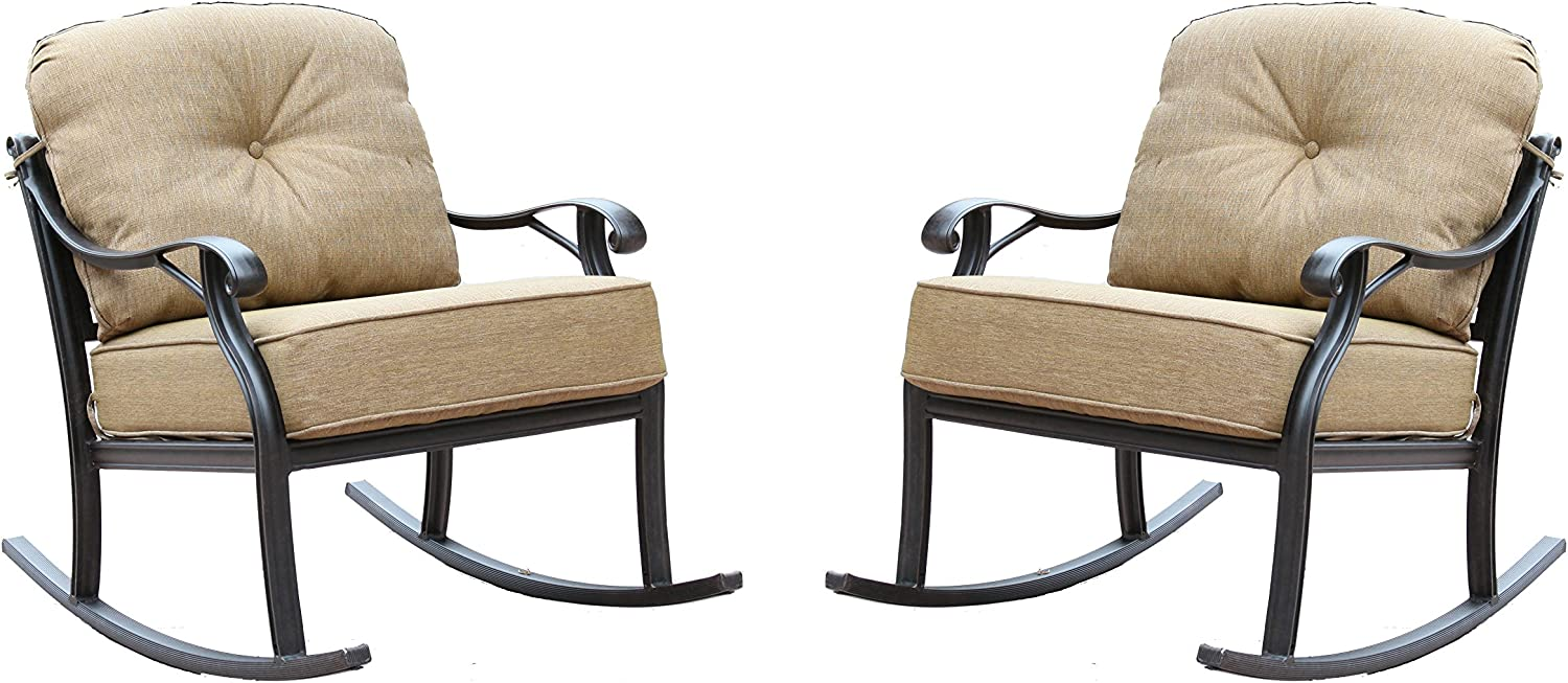 Darlee Nassau Cast Aluminum Classic Rocker Club Chair with Seat and Back Cushion, Set of 2, Antique Bronze Finish
