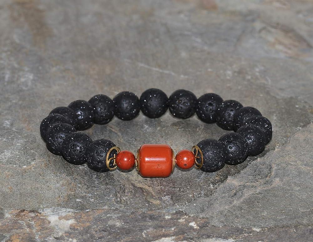 Gray Jasper and Black Veined Jasper Bracelet Mixed Stone and Sterling Silver Bead Bracelet Mens Designer Bracelet Volcanic Lava