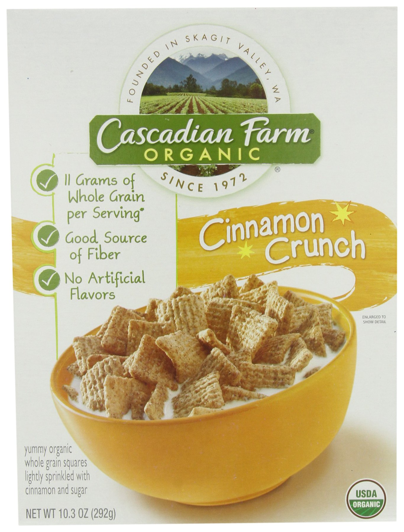 Cascadian Farm Organic Cinnamon Crunch Cereal, 10.3-Ounce Boxes (Pack of 4)