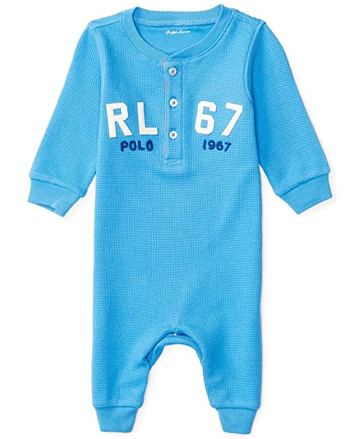 ab5cbbb871 Ralph Lauren Baby Boys Henley Waffle Knit Cotton Coverall (12 Months ...
