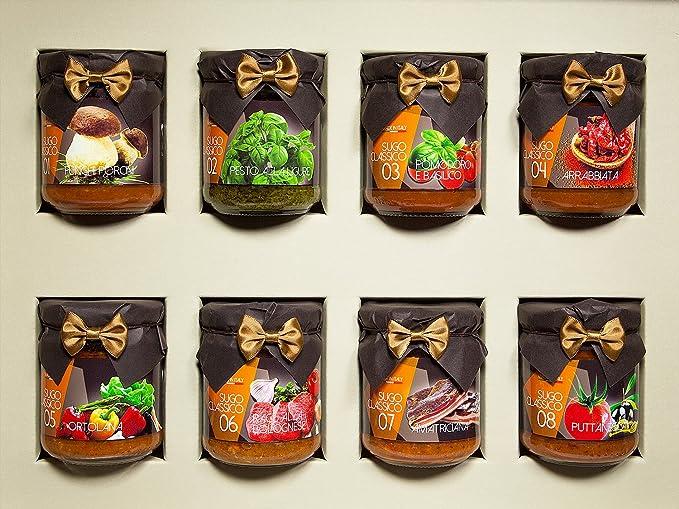 Caja de regalo gourmet: una selección de los 8 más famosas salsas italianas