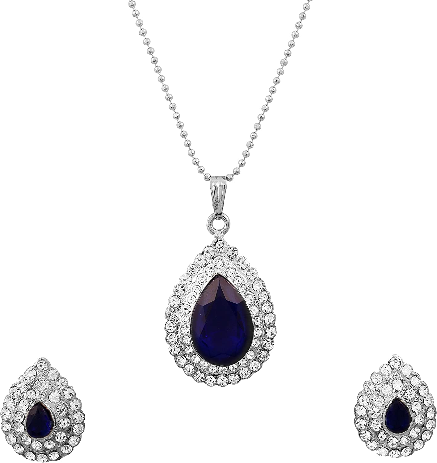 Touchstone Hollywood Glamour Blue White Crystals Wedding Evening Jewelry Pendant in Silver Tone for Women