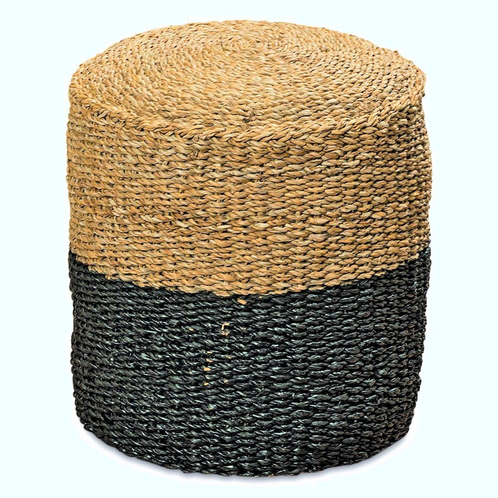 Whole House Worlds The Two Toned Made by Nature Beach House Pouf, Woven Wicker Seagrass, Low Table, Footstool, or Ottoman, 15 ¾ x 15 ¾ x 18 Inches by