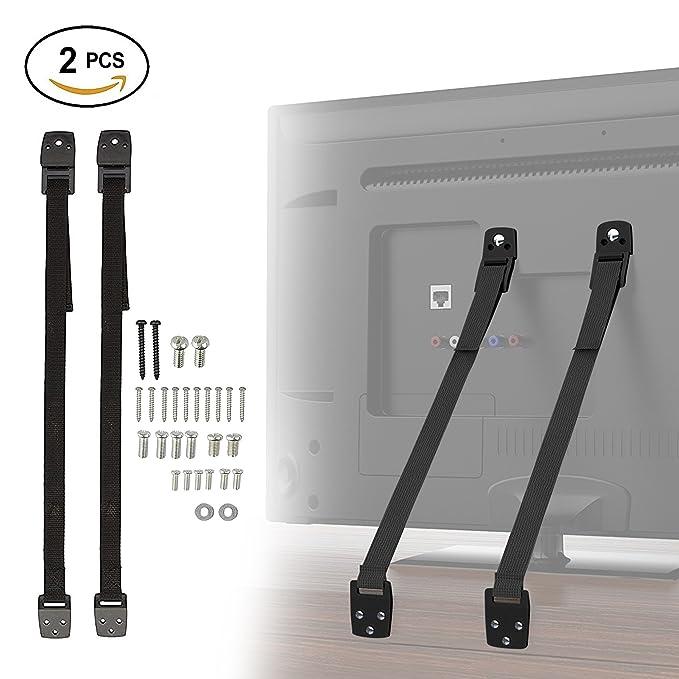 2 Correas de Seguridad Resistentes, 1m – Nylon Resistente y Ajustable - Protector Anti caídas y Accidentes – Cinturón Para Televisor, TV de Pantalla ...