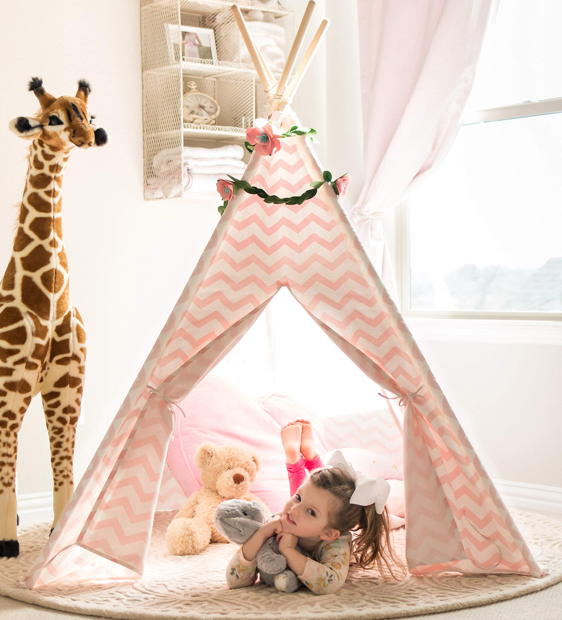 Tiny Land Teepee Tent for Kids - Girls Play Tent Pink Chevron Cotton Canvas Tipi by Tiny Land