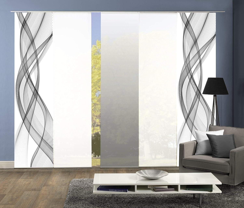 Wohnfuehlidee 5er-Set Flächenvorhang, Deko Blickdicht, Mariella, Höhe 245 cm, 2X Dessin grau   2X Uni weiß Blickdicht   1x Farbverlauf grau