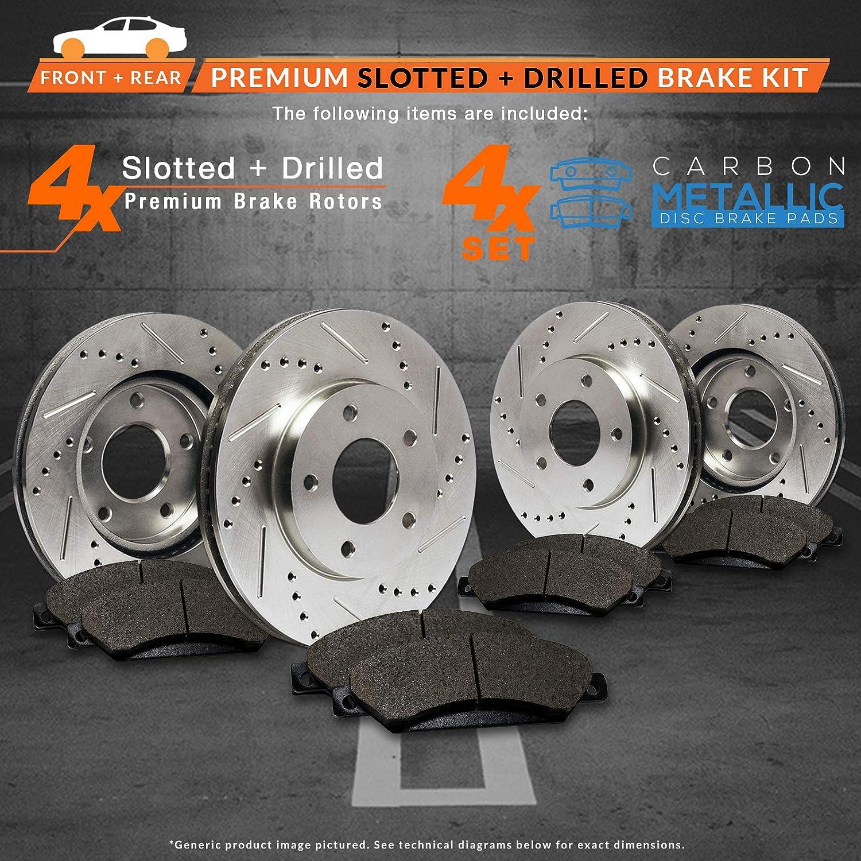 Max Brakes Front /& Rear Performance Brake Kit Premium Slotted Drilled Rotors + Metallic Pads TA042933 Fits: 2007 07 2008 08 2009 09 Mazda MazdaSpeed 3