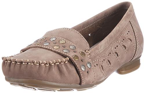 Rieker 40076-64 4020932082147 - Mocasines de cuero nobuck para mujer, color beige, talla 40: Amazon.es: Zapatos y complementos