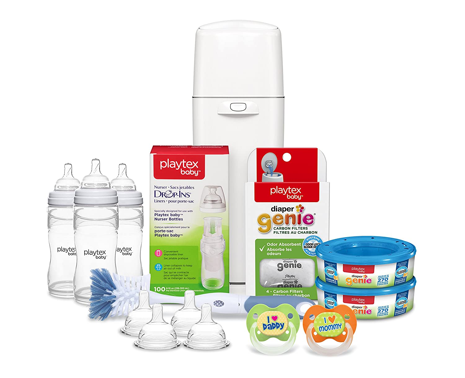 Playtex Baby Diaper Genie Gift Set with a Diaper Genie Diaper Pail, (2)Diaper Genie Refill, Carbon Filters, (3)Playtex Nurser Baby Bottles, Bottle Liners, Bottle Nipples, Bottle Brush, and Pacifiers 10078300026225