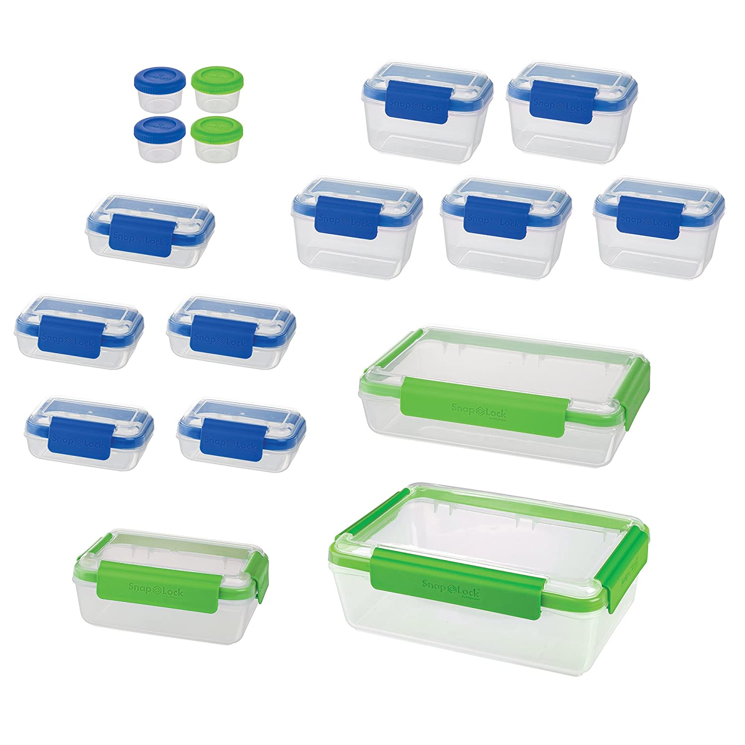 Leak-Proof Seal SnapLock by Progressive 36-Piece Container Set Stackable All with lids BPA FREE Multicolored SNL-36SET Easy-To-Open