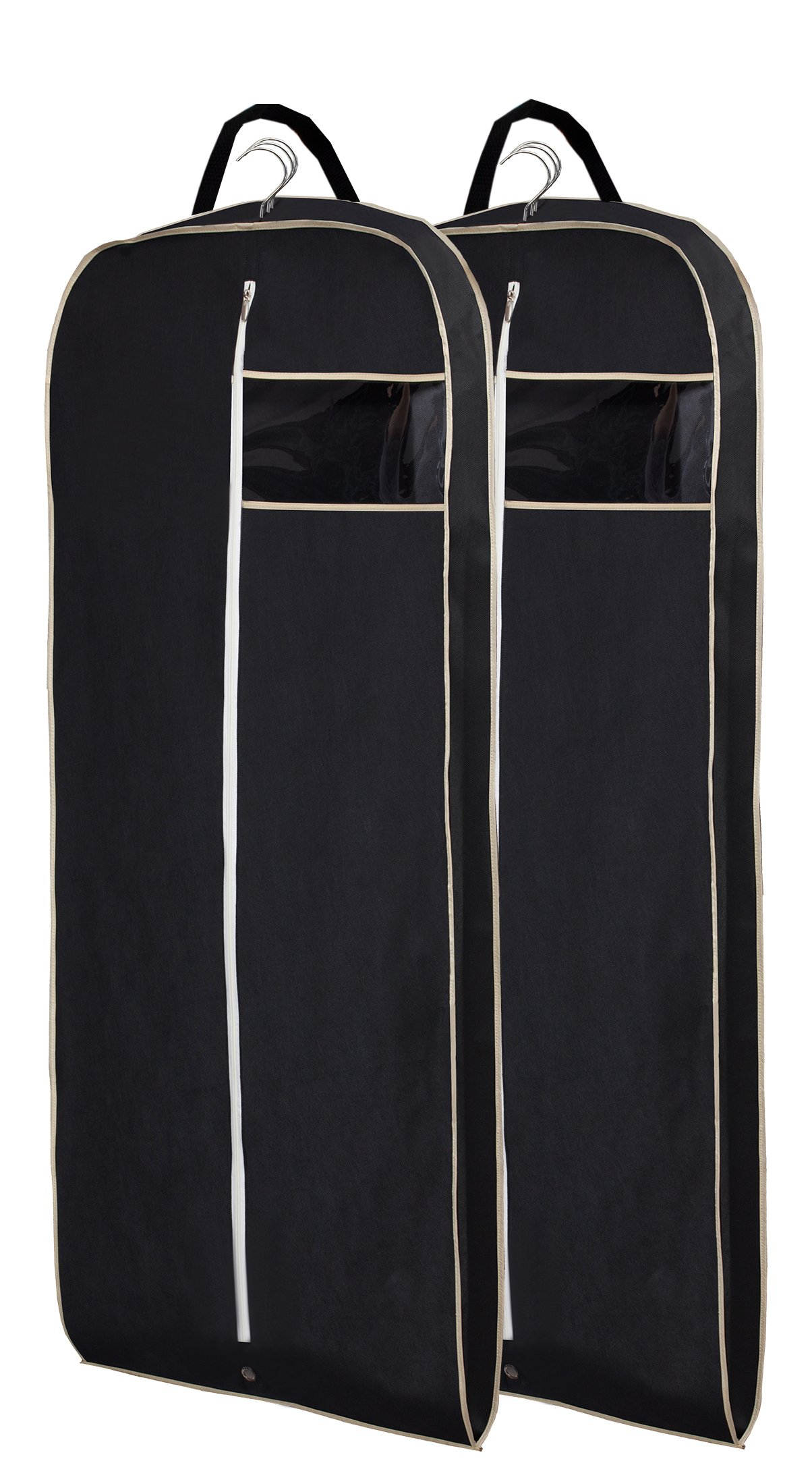 MISSLO Breathable 54'' Suit Dress Black Garment Bag with Gusseted, Pack of 2