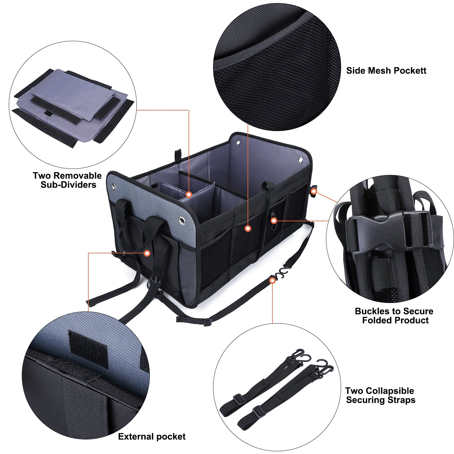 Auto Truck Vehicle 4350406478 Eco-Friendly Heavy Duty Waterproof Storage Bin and Carrier 66L for SUV Black G4Free Trunk Organizer- Collapsible Auto Car /& SUV Cargo Storage Container