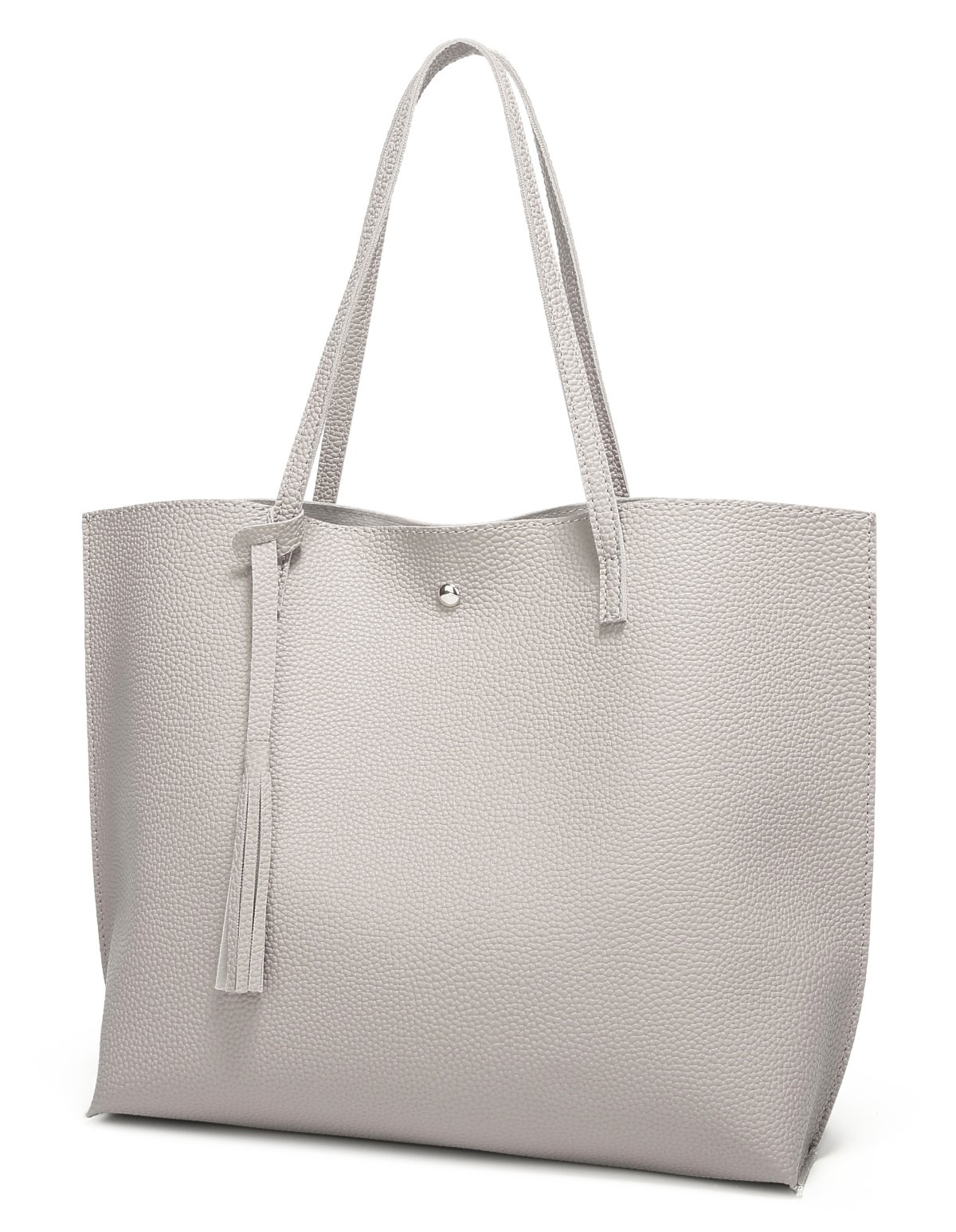 Women's Soft Leather Tote Shoulder Bag from Dreubea, Big Capacity Tassel Handbag Grey