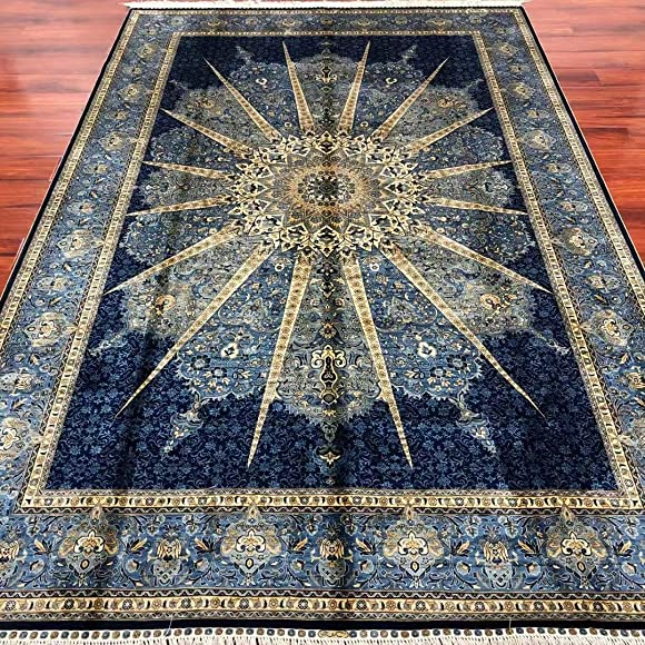 Yuchen Carpet 6 x9 Blue Hand Knotted Persian Silk Rugs for Bedroom