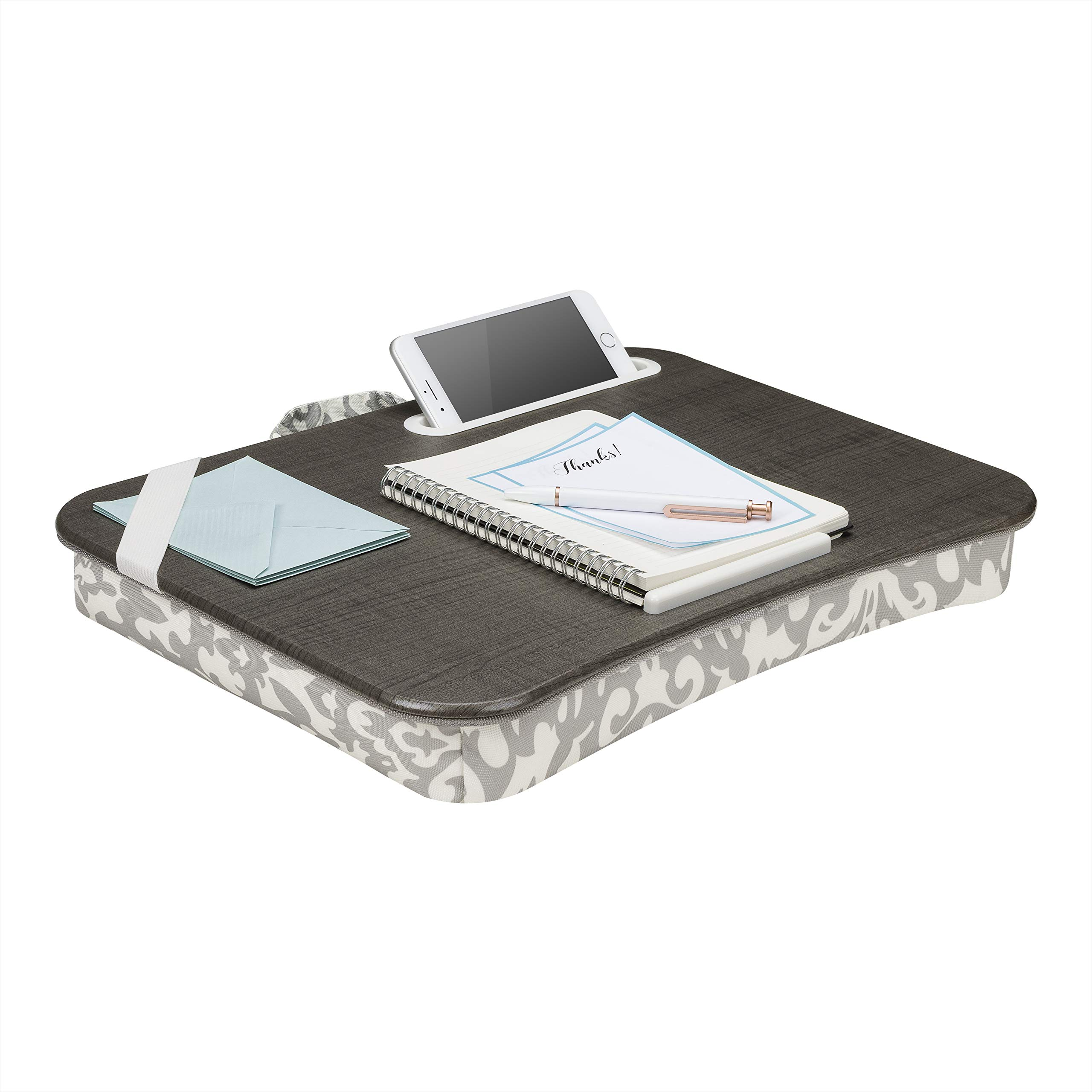 LapGear Designer Lap Desk with phone holder - Gray Damask - Fits up to 17.3 Inch laptops - Style No. 45424
