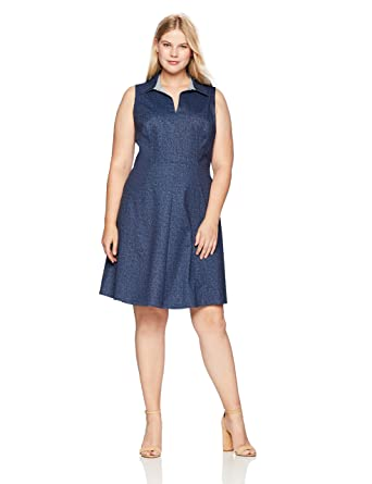 139f5c7a6418c London Times Women s Plus Size Sleeveless Collared Denim Fit and Flare Dress  at Amazon Women s Clothing store