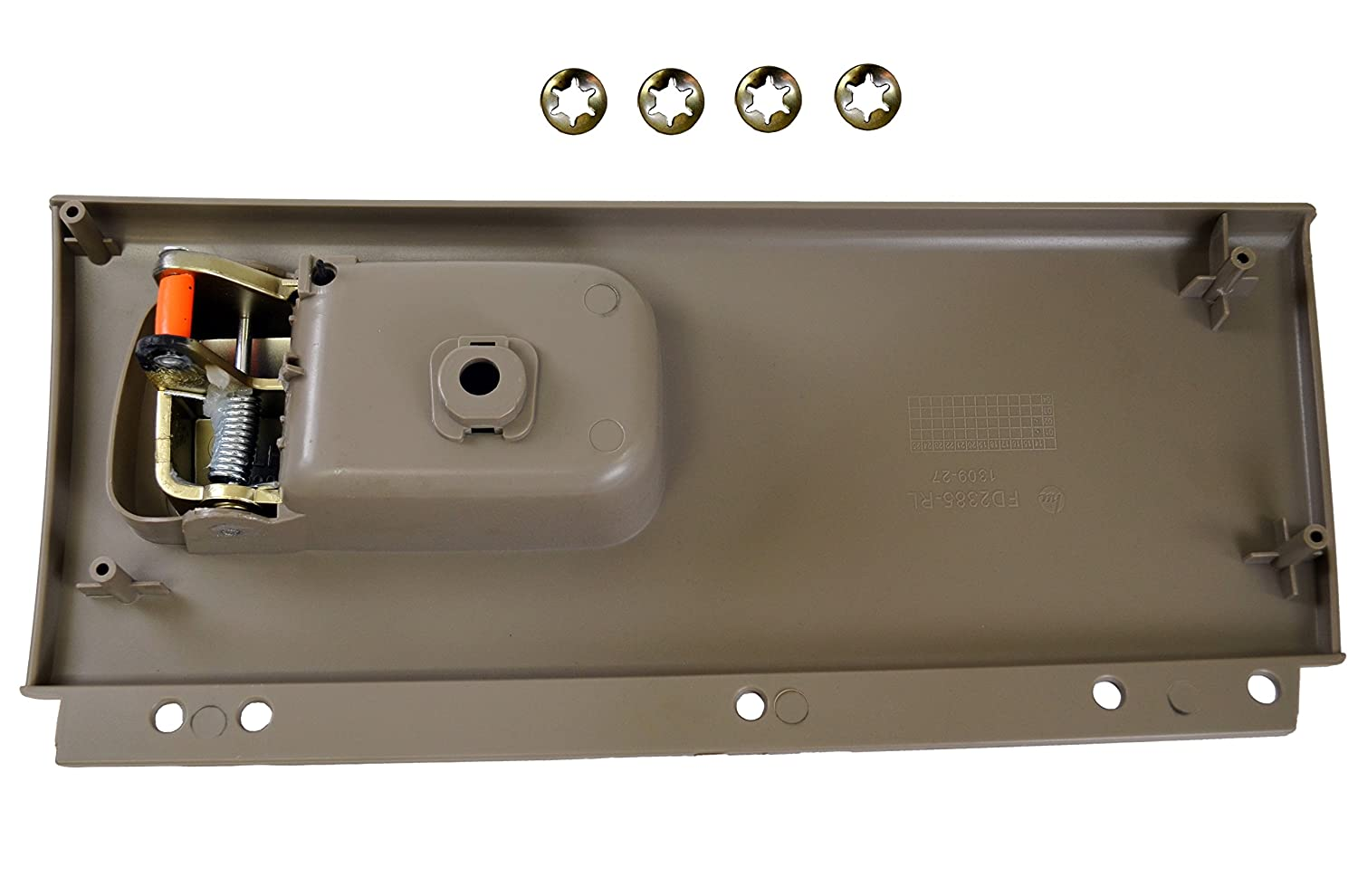 - Driver Side Rear PT Auto Warehouse FO-2385MG-RL Inside Interior Inner Door Handle Golden Brush Gray Housing with Chrome Lever