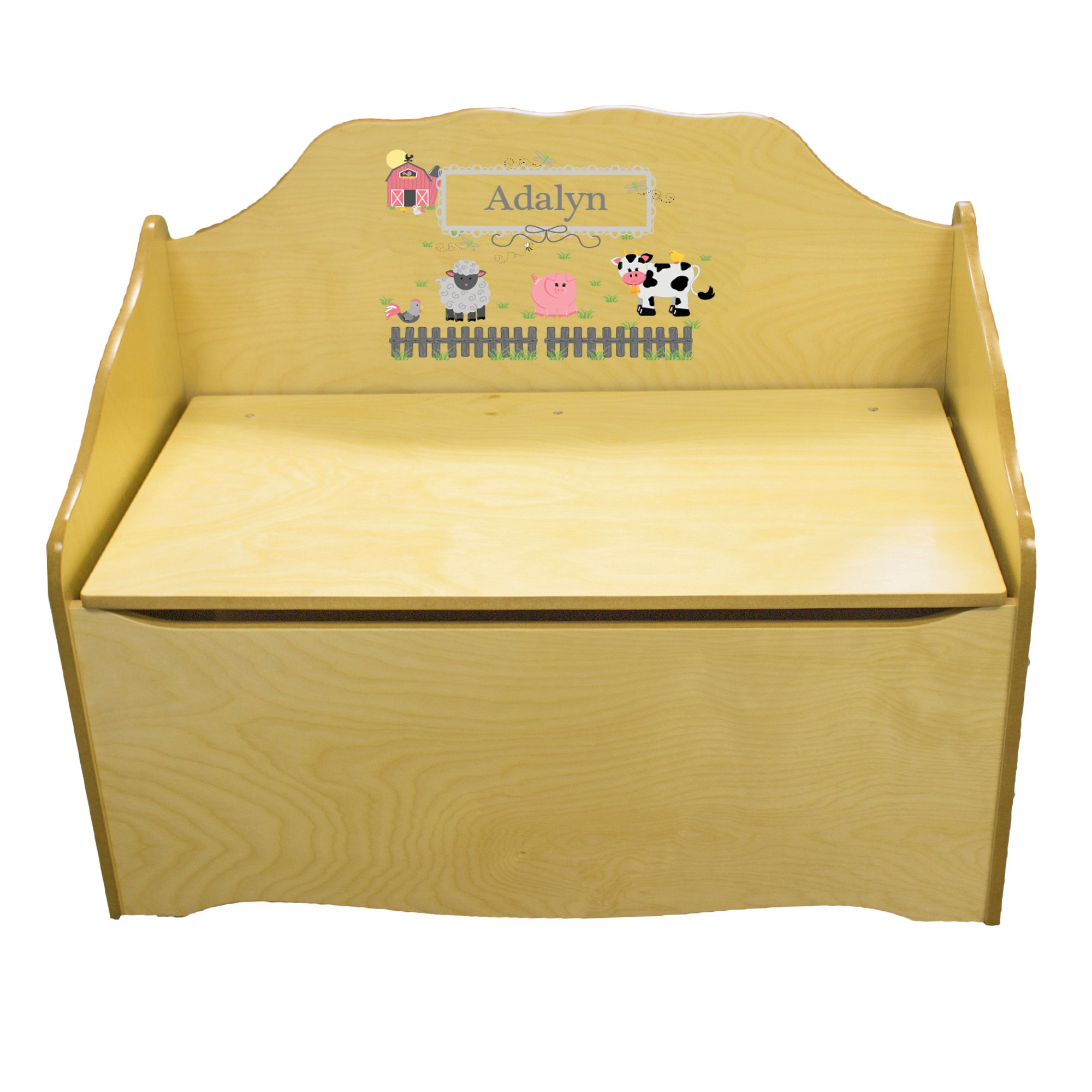 Personalized Barnyard Friends Childrens Natural Wooden Toy Chest