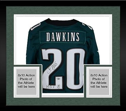 Framed Brian Dawkins Philadelphia Eagles Autographed Green Nike Elite Jersey  with quot HOF 18 quot  Inscription 621404c2f