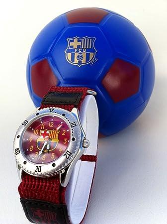 FC Barcelona - Reloj para niño con correa de color burdeos: Amazon.es: Deportes y aire libre