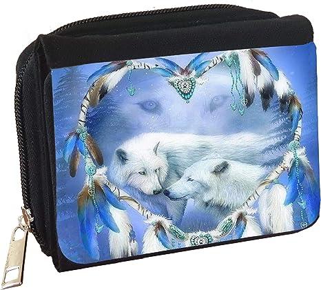 White Wolf Dreamcatcher Personalised Denim Wallet