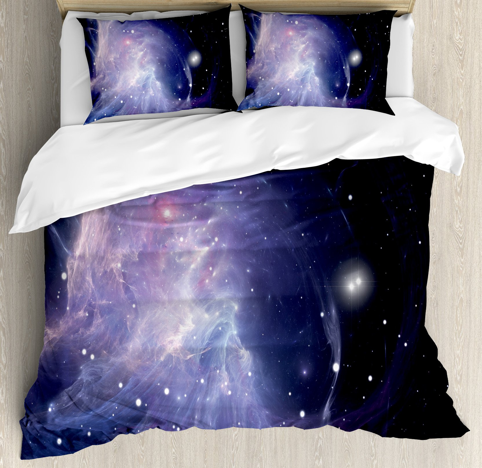 Ambesonne Outer Space Duvet Cover Set Queen Size, Space Nebula in Galaxy Complex Energy Movements Cosmos Theme Inspiring Print, Decorative 3 Piece Bedding Set with 2 Pillow Shams, Navy Purple