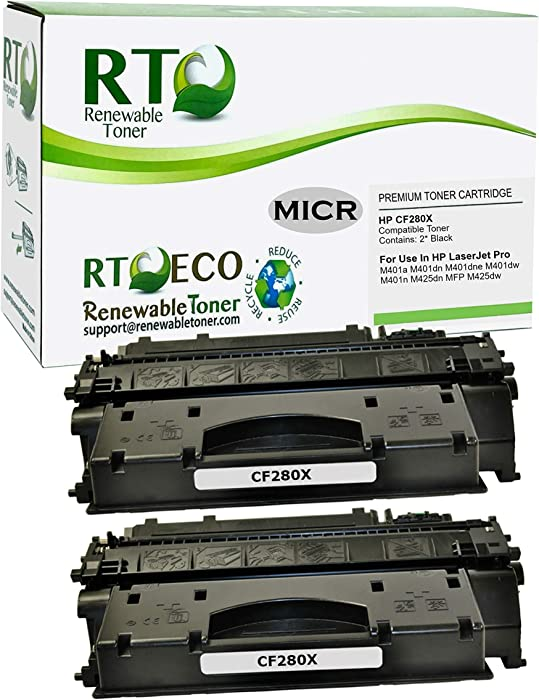 Renewable Toner Compatible MICR Toner Cartridge High Yield Replacement for HP CF280X 80X for HP LaserJet Pro 400 M401 M425 (2-Pack)