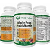 Whole Nature Whole Food Multivitamin All Essential Vitamins and Minerals plus Digestive Enzymes, Probiotics and Omega's. For Men and Women. Non GMO