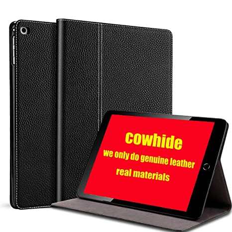 Gexmil iPad 9 7 Inch 2018/2017 Case, applies Cowhide Folio Cover for iPad  6th Gen / 5th Gen Genuine Leather case,Also applies to iPad Air 2 / iPad