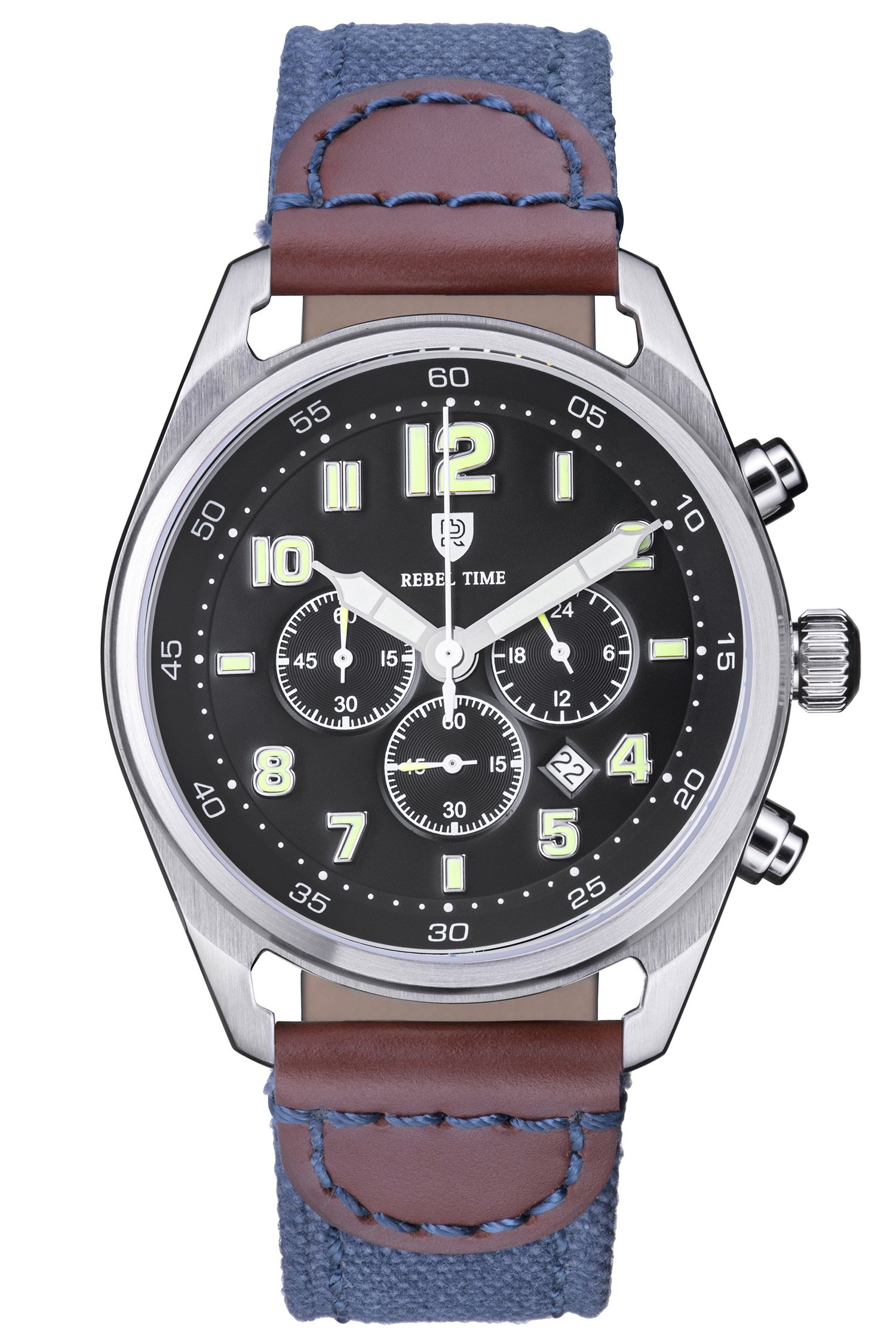 Rebel Men's Classic Black Stainless Steel Chronograph 100 Meter WR Field Watch