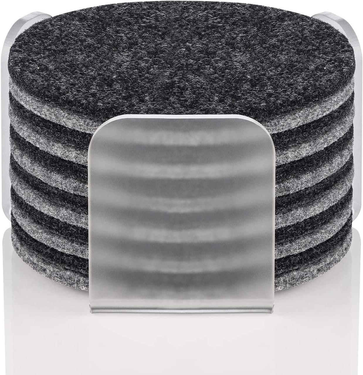 Coasters for Drinks Set of 12, Absorbent Felt Coasters with Acrylic Holder, Premium Package, Perfect Housewarming Gift Idea, Protects Furniture, Table (Round, Charcoal/Gray)