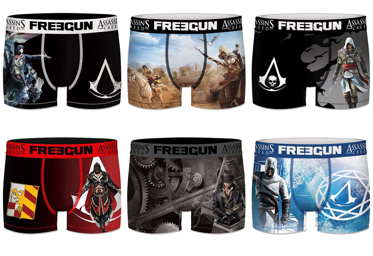 FREEGUN. Boxer Assassin's Creed Boys in Microfiber - Assortment Models Photos According to Arrivals- (10/12 Years, Pack of 6 Act 4)