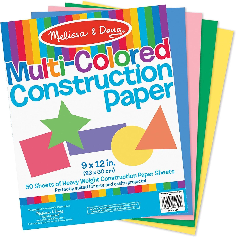 - Amazon.com: Melissa & Doug Multi-Color Construction Paper, 9-Inch