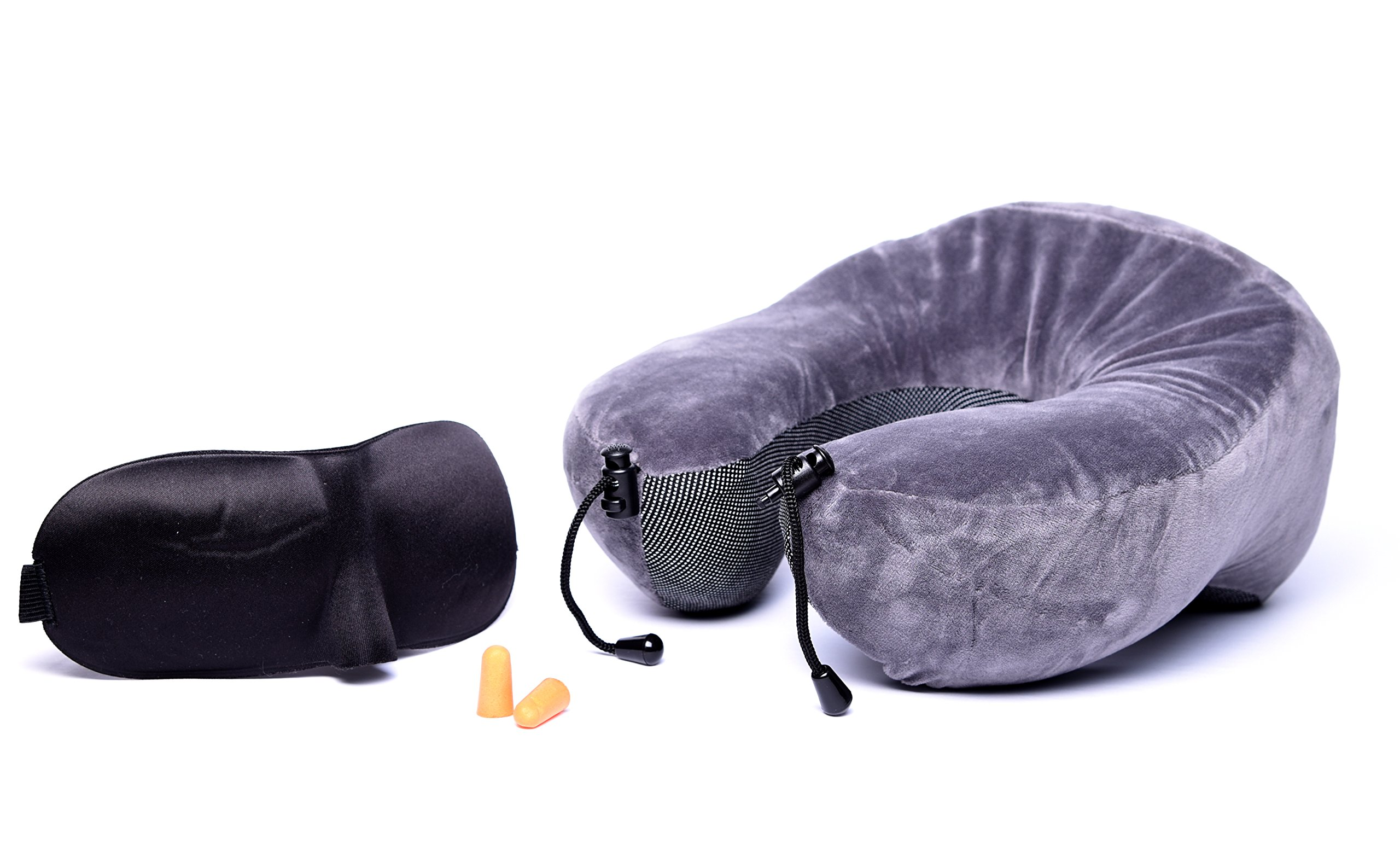 Adventugo Premium Contour Memory Foam Travel Neck Pillow Kit with Contour Eye Mask and Ear Plugs