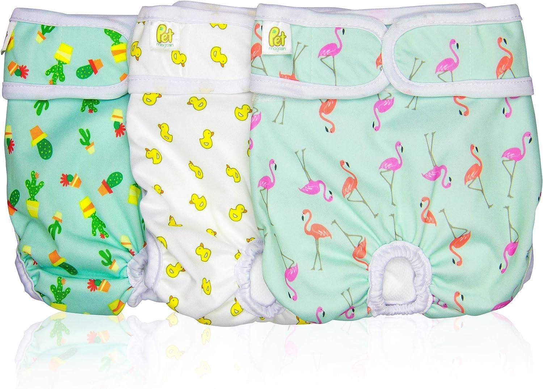 PET MAGASIN Pañales Reutilizables para Perros [Paquete de 3] Pañales Sanitarios para Mascotas, Altamente absorbentes, Lavables a máquina y ecológicos (Pattern, XS)