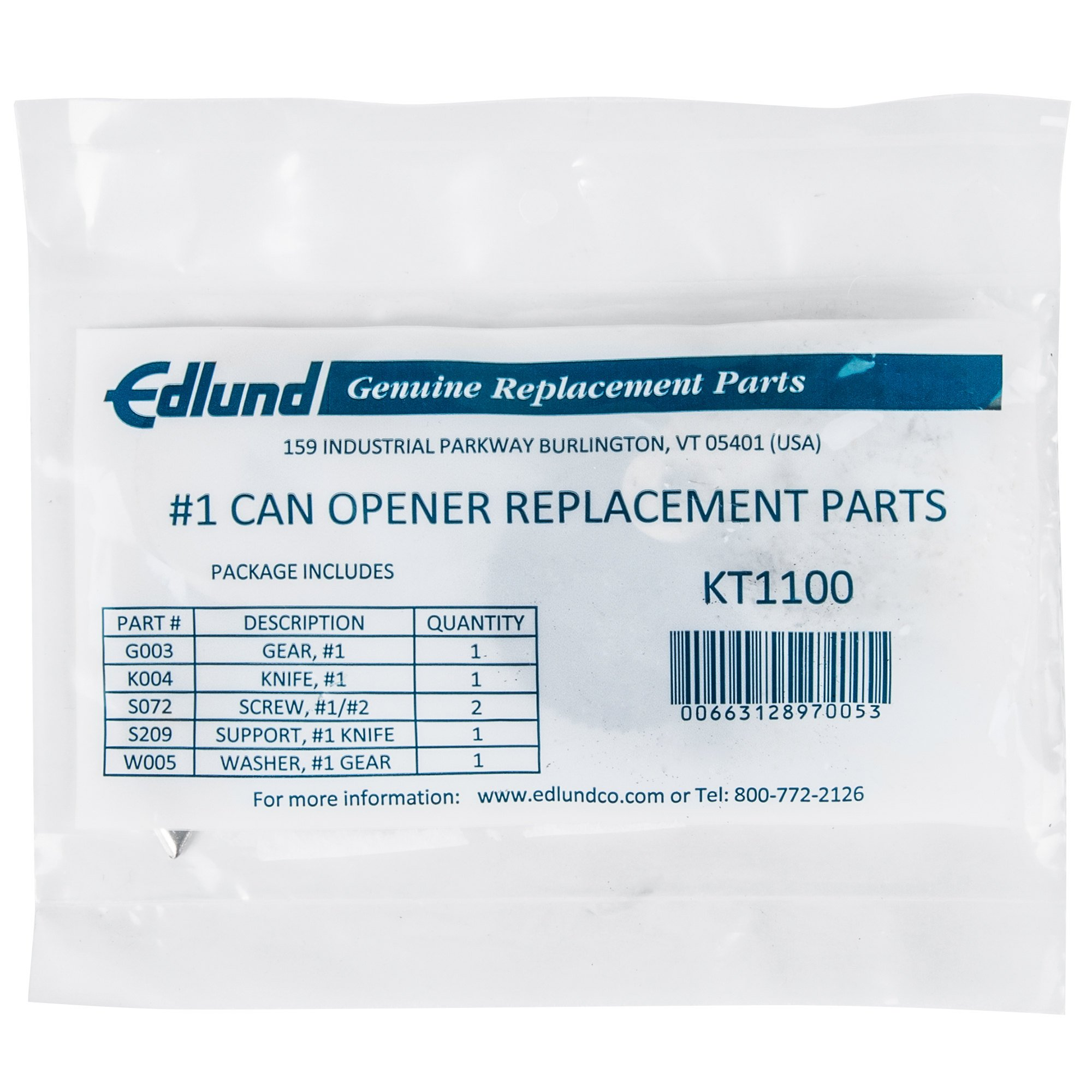 Edlund KT1100 Knife and Gear Replacement Kit for #1 Old Reliable Can Openers by Edlund