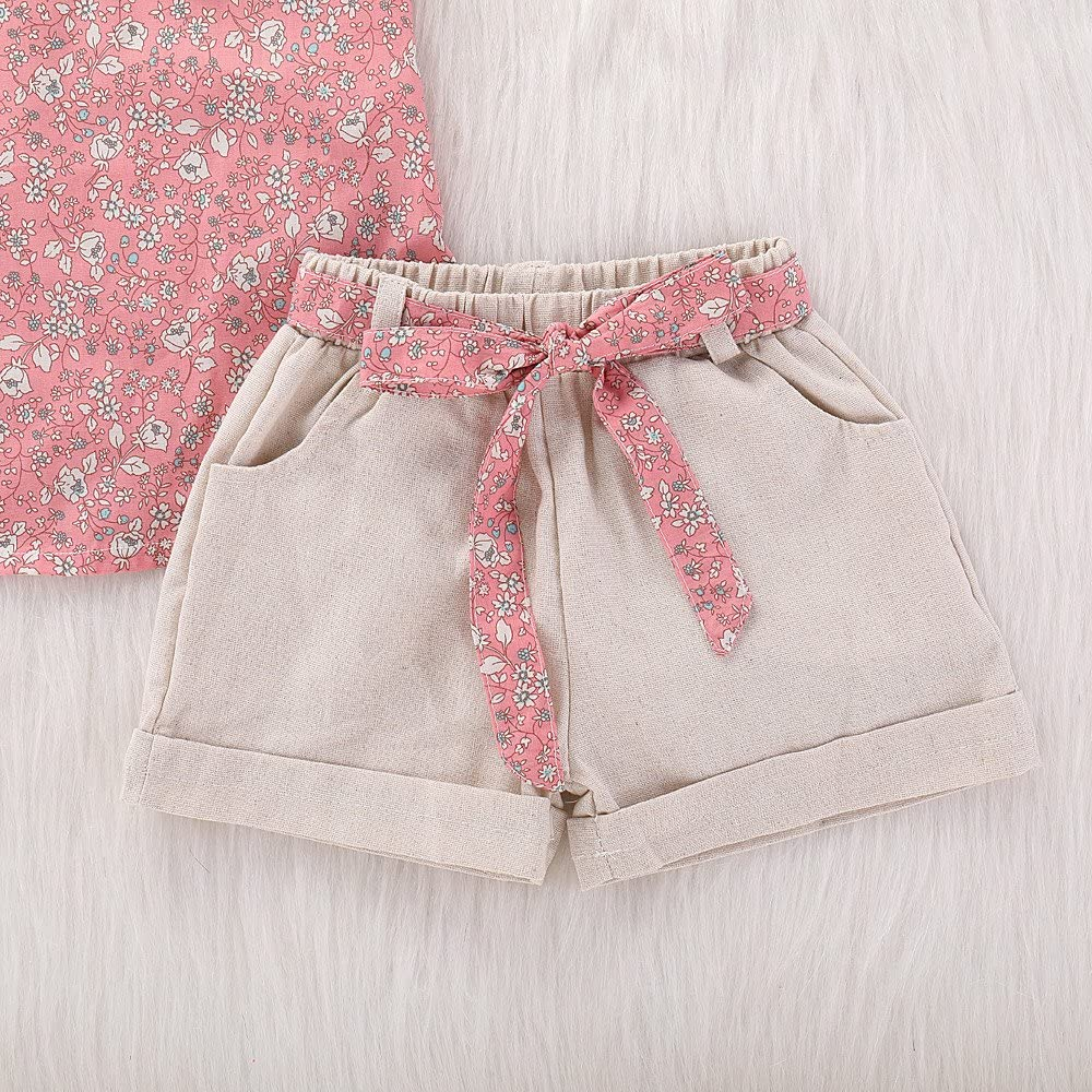 Toddler Baby Girls Clothes Floral Tank Top T-Shirt Short Pants with Bow Belt Kids 2pcs Summer Outfits Set
