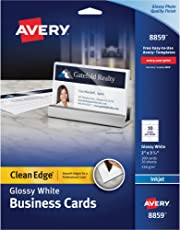 Business cards amazon office school supplies paper avery ave8859 business cardsamp44inkjetamp442 sidedamp reheart Images