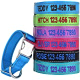 Personalized Dog ID Collar, Custom Engraved Pet Name Phone Number Metal Release Buckle Reflective Safety Pet Collars Nylon,Adjustable Sizes