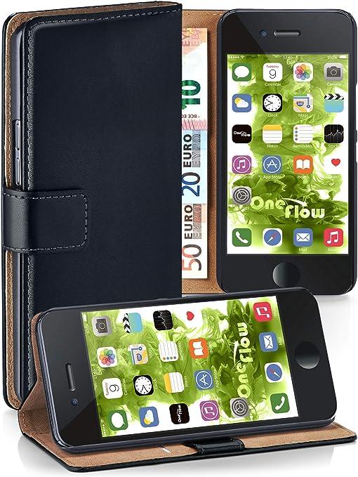 Moex Klapphülle Kompatibel Mit Iphone 6s Plus 6 Plus Hülle Klappbar Handyhülle Mit Kartenfach 360 Grad Flip Case Vegan Leder Handytasche Schwarz Elektronik