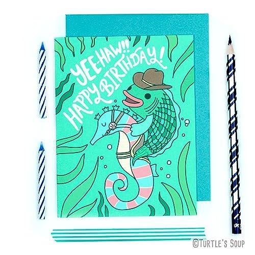 Cowboy Fish Birthday Card Cute Aquatic Pisces Summer Funny Yee Haw