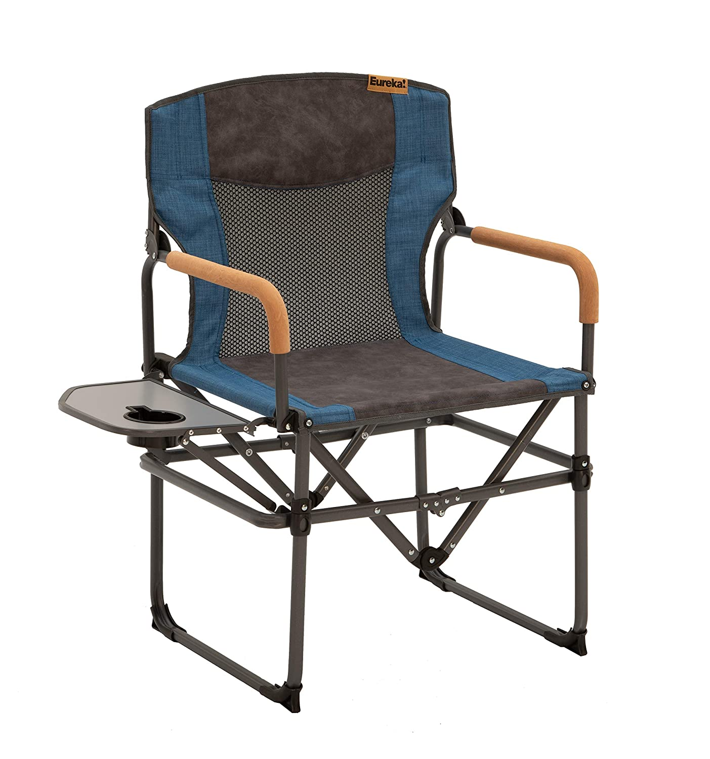 Eureka Director s Camping Chair with Side Table, Blue, One Size