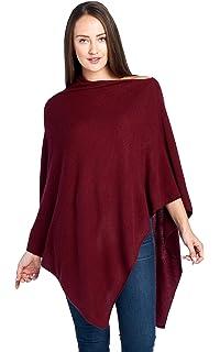 98b28b4de Mariyaab Women's 100% Cashmere Soft Knitted Travel Wrap Poncho ...