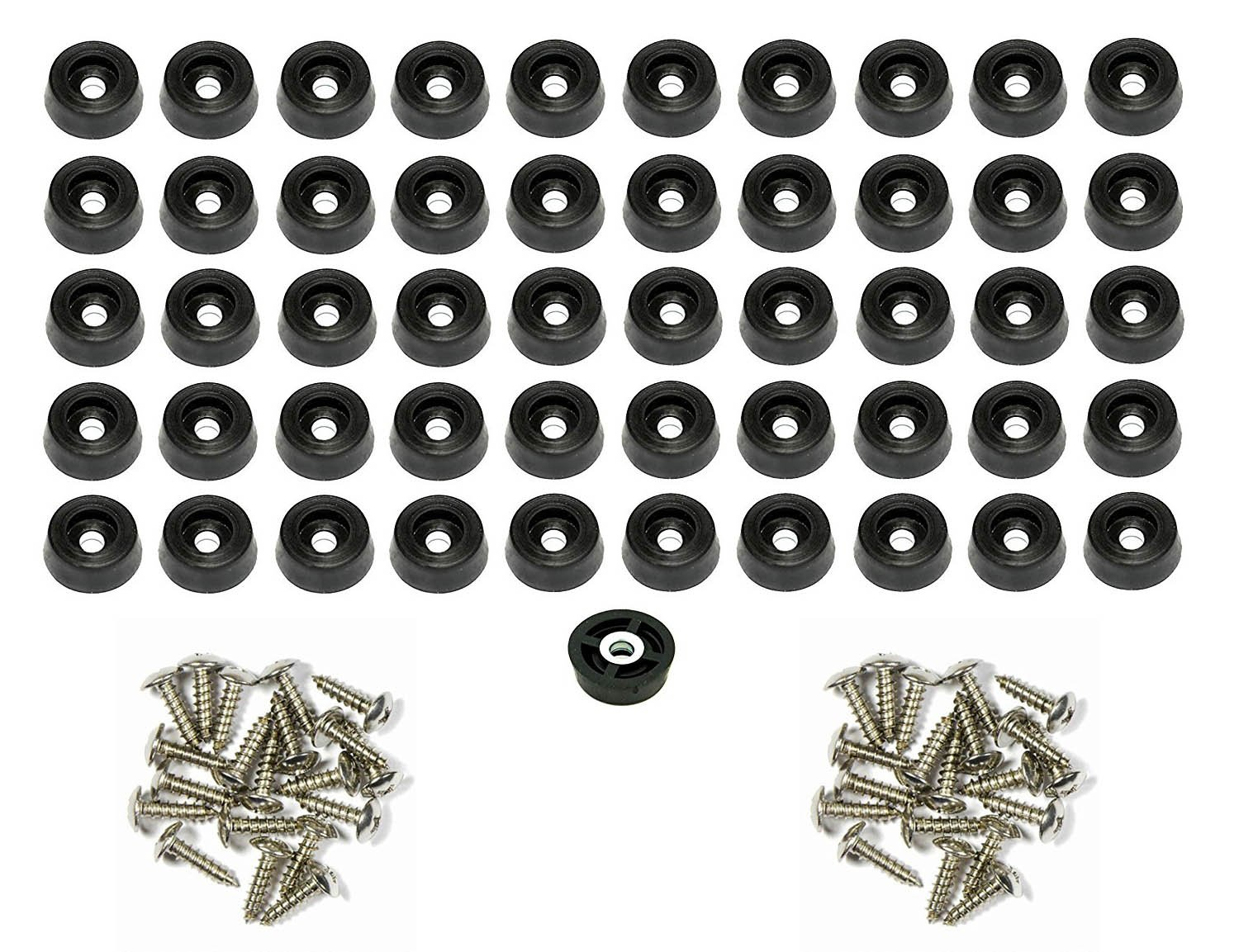 50 Small Round Rubber Feet W/ SCREWS - .250 H X .671 D - Made in USA /