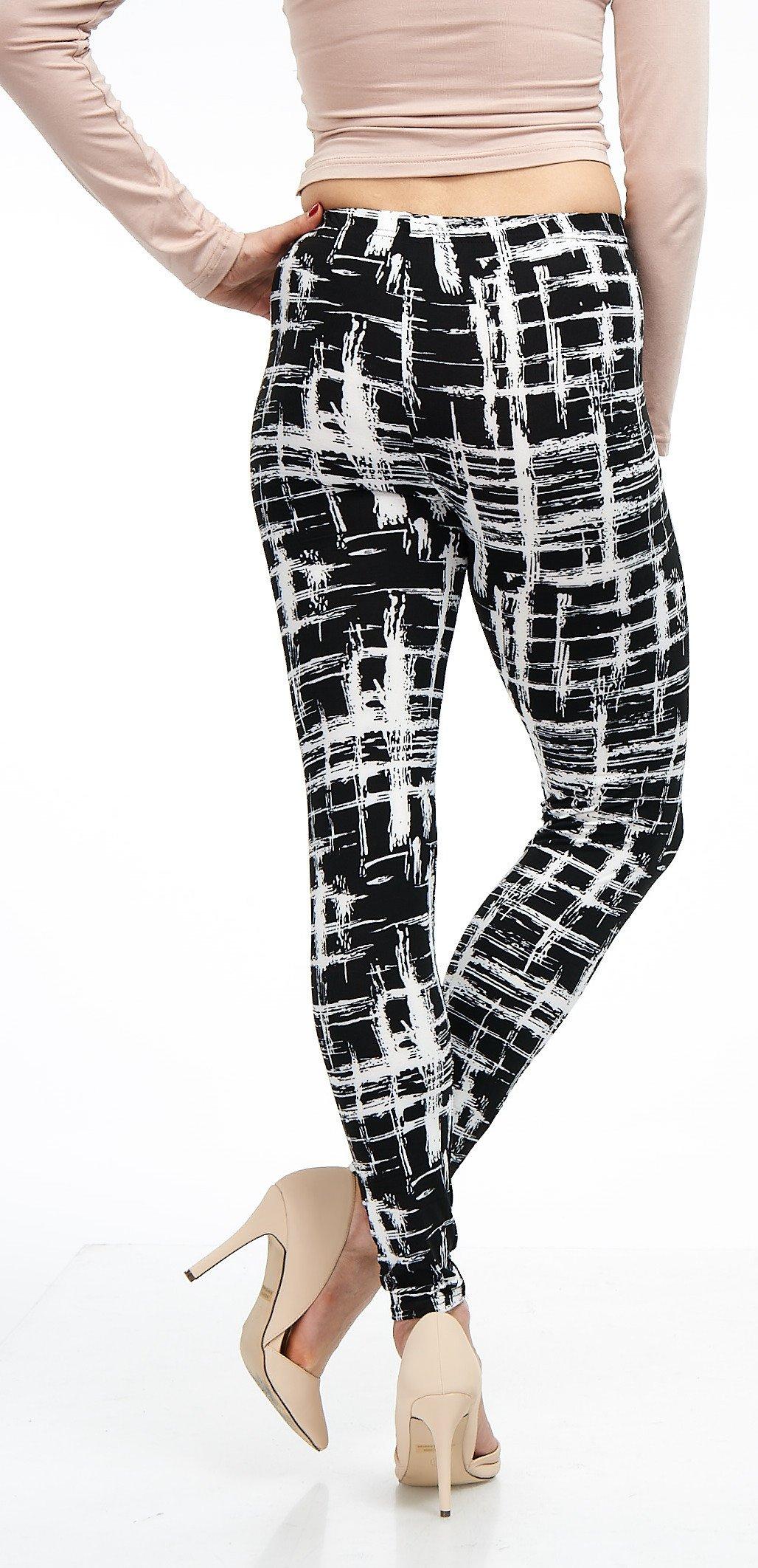 LMB Lush Moda Extra Soft Leggings with Designs- Variety of Prints - 720F Black White Stripes B5 by LMB (Image #9)